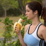 Caucasian Female Jogger with Fruit USA