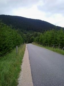 Sima, aszfaltos utak, mellette murvás sáv, szintén elegendő hely a földön futást választónak